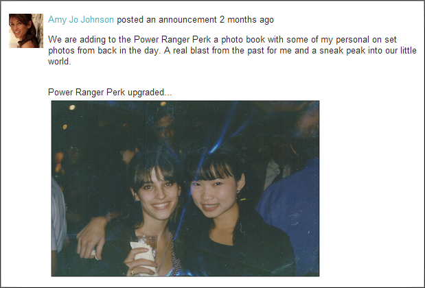 Power Ranger perk includes a photobook with personal photos from Amy Jo Johnson.